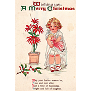 Little Girl with a Doll Potted Poinsettias Holly Vintage Christmas Postcard