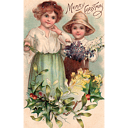 Little Boy and Girl with Flowers Mistletoe and Holly Vintage Christmas Postcard