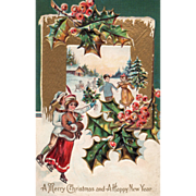 Winter Scene with People Ice Skating Holly and Berries Christmas Postcard