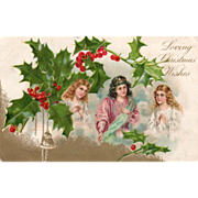 Lady in Pink Two Ladies in White Holly Golden Bells Vintage Christmas Postcard