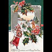 Winter Scene People Ice Skating Holly and Berries Vintage Christmas Postcard