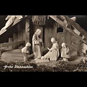 Carved Wooden Nativity Scene German Language Vintage Christmas Postcard