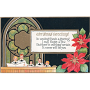 Children Singing Choir under a Stained Glass Window Vintage Christmas Postcard