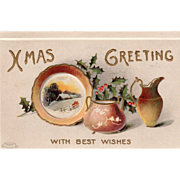Plate Sugar Bowl Ewer Sprigs of Holly Vintage Christmas Postcard
