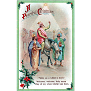 The Wise Men Following the Star and Holly Vintage Christmas Postcard
