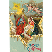 The Holy Family Manger Sheep Star Angels Vintage Christmas Postcard