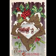 Winsch Man Leading a Team of Horses through the Snow Holly Vintage Christmas Postcard