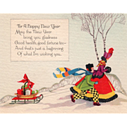 Woman with Boy Pulling Sled of Gifts Vintage New Year's Day Card