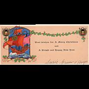 Sailing Ship Lanterns Holly Garland Vintage Christmas Card