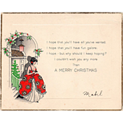 Young Woman with Candlestick Standing in Hallway Vintage Christmas Card