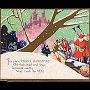 Men Pulling Yule Log to Castle Men Playing Trumpets Vintage Christmas Card