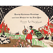 Town Crier Walking through the Town with Lantern Vintage Christmas Card