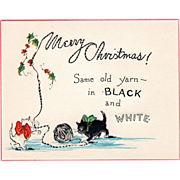 Black and White Kittens Playing with Yarn Holly Sprigs Vintage Christmas Card