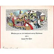 Townspeople Greeting Each Other on the Street Vintage Christmas Card