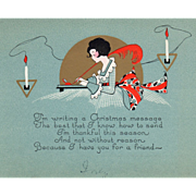 Young Woman Writing a Christmas Card Candles Vintage Christmas Card