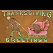 Pilgrim Man Pulling a Turkey Gobbler on a Sleigh Vintage Thanksgiving Postcard