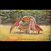 Turkey Gobbler in Top Hat Turkey Hen in Veil Vintage Thanksgiving Postcard