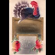 Turkey Gobbler on a Sign with Harvest Bounty Vintage Thanksgiving Postcard
