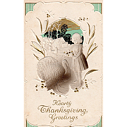 Little Girl with Bouquet Very Large Turkey Gobbler Vintage Thanksgiving Postcard