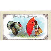 Little Girl Red Umbrella Playing w/ Turkey Gobbler Vintage Thanksgiving Postcard