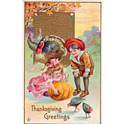 Turkeys Girl and Boy Playing with a Pumpkin Vintage Thanksgiving Postcard