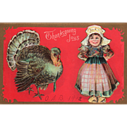 Little Girl in Dutch Dress with Very Large Gobbler Vintage Thanksgiving Postcard