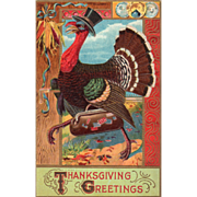 Turkey Gobbler in Top Hat Carrying Luggage Vintage Thanksgiving Postcard