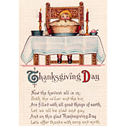 Boy in Chair at Table Ready to Eat Huge Pie Vintage Thanksgiving Postcard