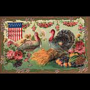 Shield Turkey Gobbler and Hen Harvest Bounty Vintage Thanksgiving Postcard