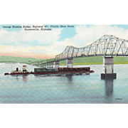 George Houston Bridge Tennessee River Guntersville AL Alabama Vintage Postcard