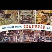 Greetings from Deadwood SD South Dakota Vintage Postcard