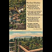 "Two Views Great Smoky Mountains N P Poem ""The Great Smokies"" Vintage Postcard"
