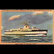 S S PocahontasTransport between Kiptopeke Beach Norfolk VA Vintage Postcard
