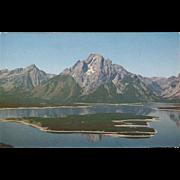 Mt Moran and Jackson Lake Grand Teton National Park WY Wyoming Vintage Postcard