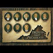 Eight Presidents from VA Virginia Vintage Postcard
