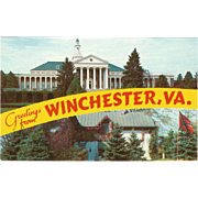 Handley High School Jackson Headquarters Winchester Virginia Vintage Postcard