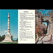 Yorktown Monument Natural Bridge Poem Virginia Vintage Postcard
