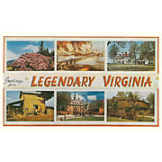 Six Views Greetings from Legendary VA Virginia Vintage Postcard