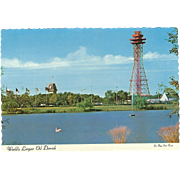 World's Largest Oil Derrick Six Flags Dallas-Fort Worth TX Vintage Postcard