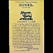 SOLD Golden Lamb Inn 1827 Newspaper Ad Lebanon OH Ohio Vintage Postcard
