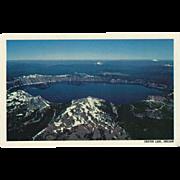 Aerial View Crater Lake National Park OR Oregon Vintage Postcard