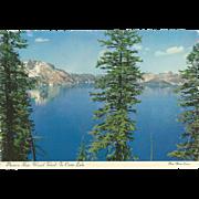 Phantom Ship Wizard Island Crater Lake National Park OR Oregon Vintage Postcard