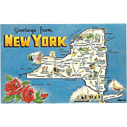 Map Greetings from NY New York Vintage Postcard