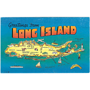 Map Greetings from Long Island NY New York Vintage Postcard