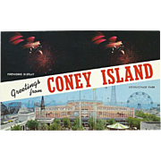 Two Views Greetings from Coney Island Long Island NY New York Vintage Postcard