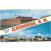 Two Views Greetings from Albuquerque NM New Mexico Vintage Postcard