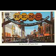 Reno Arch and Virginia Street Reno NV Nevada Vintage Postcard