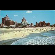 Famous Beach and Skyline Atlantic City NJ New Jersey Vintage Postcard