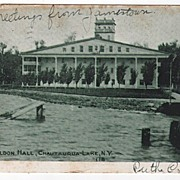 Sheldon Hall Chautauqua Lake New York NY Postcard