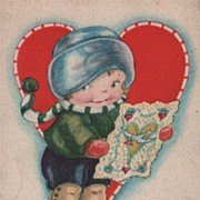 Postcard To My Sweetheart Little Boy Reading Valentine